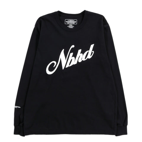 NEIGHBORHOOD SCRIPT LS TEE BLACK