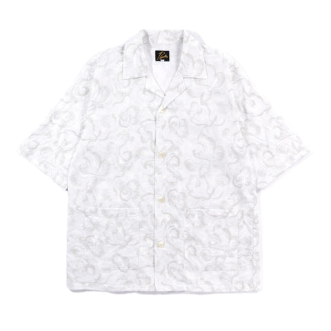 NEEDLES CABANA SHIRT ROSE EMBROIDERY OFF WHITE