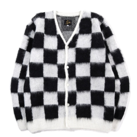 NEEDLES MOHAIR CARDIGAN CHECKERED OFF WHITE