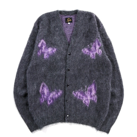 NEEDLES MOHAIR CARDIGAN PAPILLON CHARCOAL