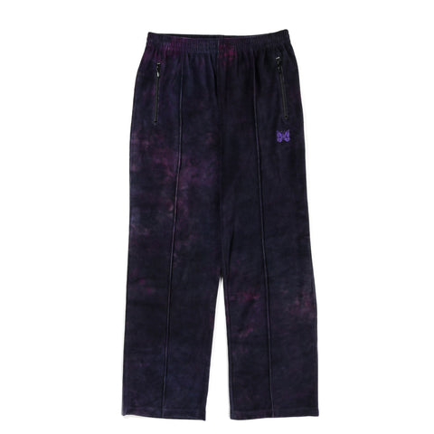 NEEDLES TRACK PANT VELOUR UNEVEN DYE BLACK