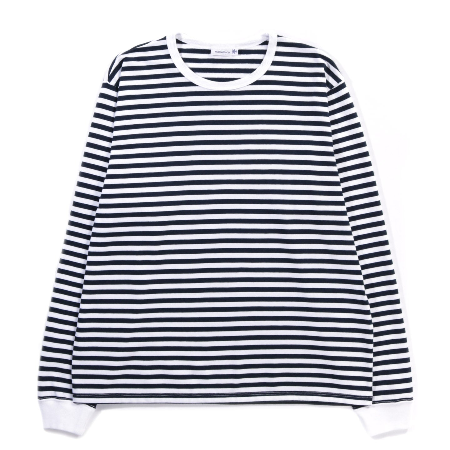 NANAMICA COOLMAX STRIPED JERSEY L/S TEE NAVY