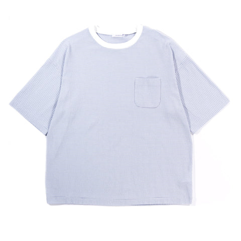 NANAMICA COTTON COOLMAX KNIT SEERSUCKER TEE SAX