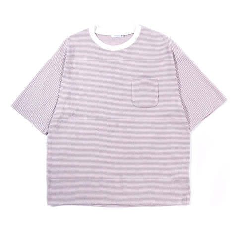 NANAMICA COTTON COOLMAX KNIT SEERSUCKER TEE PINK
