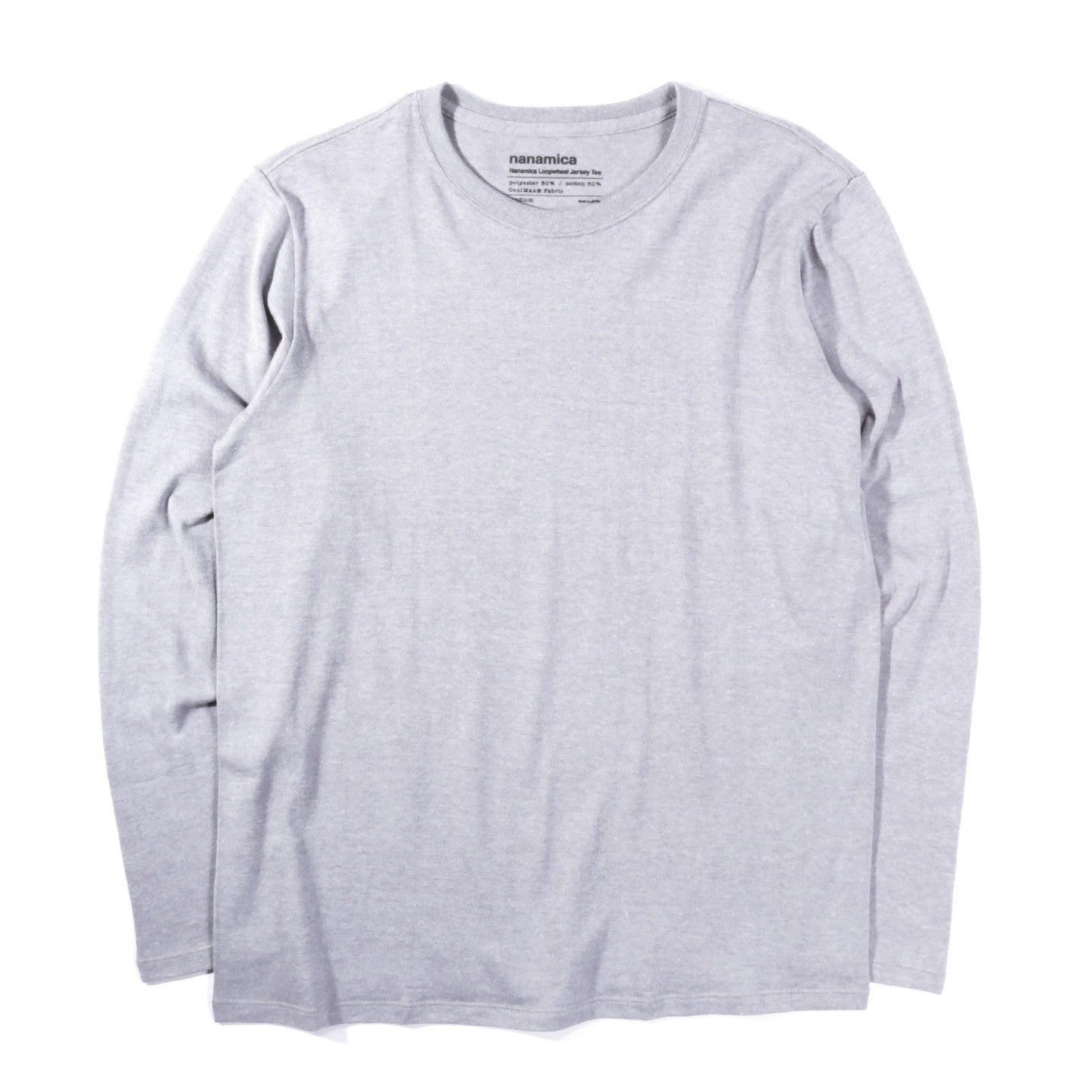 NANAMICA LOOPWHEEL COOLMAX JERSEY L/S TEE HEATHER GREY