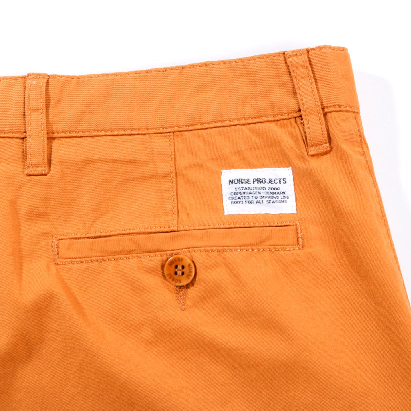 NORSE PROJECTS LIGHT TWILL SHORTS CADMIUM ORANGE