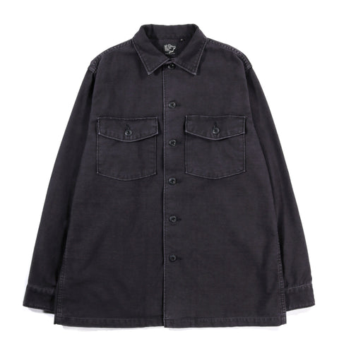 ORSLOW US ARMY SHIRT BLACK STONEWASH REVERSE SATEEN