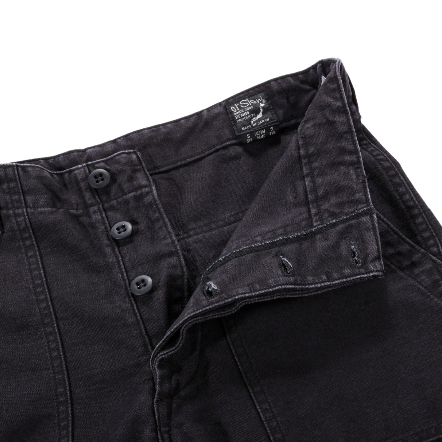 ORSLOW US ARMY FATIGUE PANTS BLACK STONEWASH REVERSE SATEEN