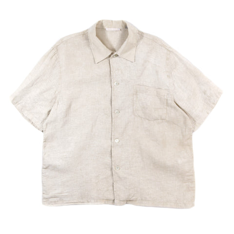 OUR LEGACY BOX SHIRT SHORTSLEEVE WHITE COATED COTTON LINEN
