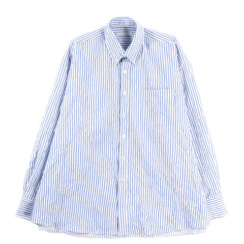 OUR LEGACY BORROWED BD SHIRT WHITE / BLUE CRINKLED STRIPE