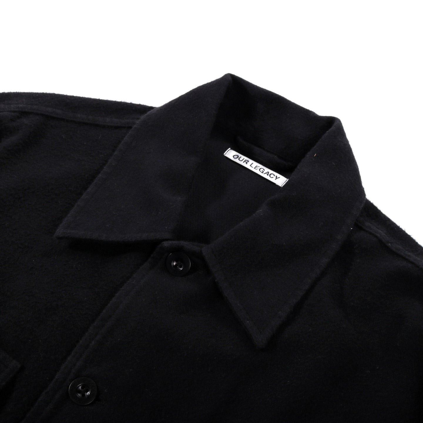 OUR LEGACY EVENING COACH JACKET BLACK BRUSHED COTTON