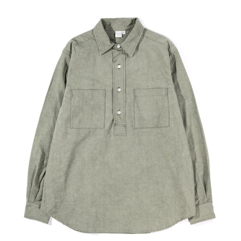 PAA LS POPOVER SHIRT TWO SULFUR DYED COTTON / LINEN SAGE