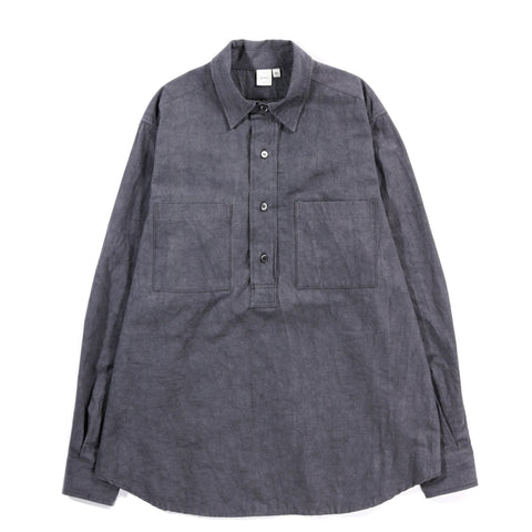 PAA LS POPOVER SHIRT TWO SULFUR DYED COTTON / LINEN CHARCOAL