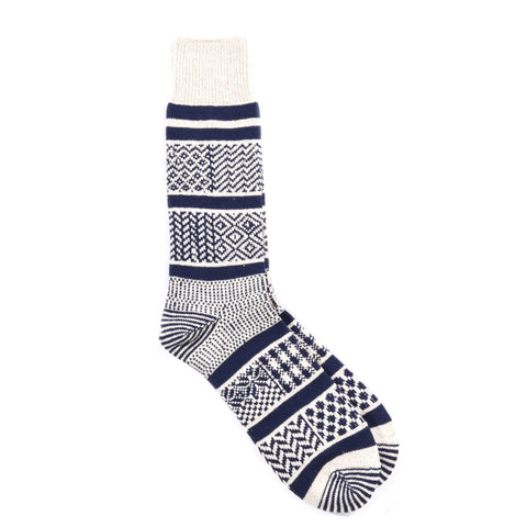 ROTOTO MULTI JACQUARD SOCKS NAVY