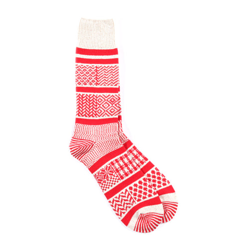 ROTOTO MULTI JACQUARD SOCKS RED
