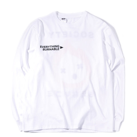 SOCIETY EVERYTHING BURNABLE LS TEE WHITE