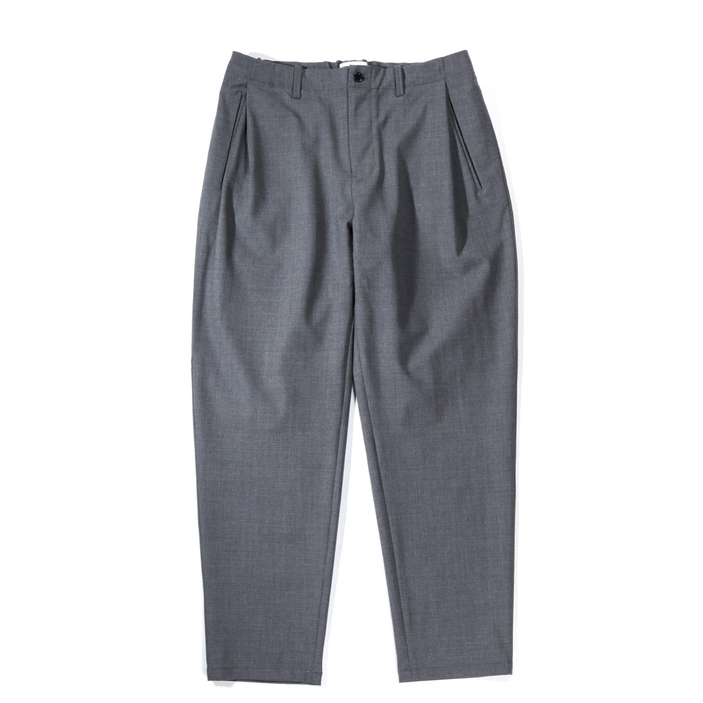 STILL BY HAND DEEP TUCK WOOL PANTS GREY
