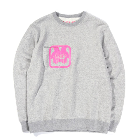 SOCIETY DRUG CREW SWEAT HEATHER GREY