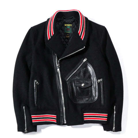 SCHOTT WOOL MOTO VARSITY JACKET BLACK