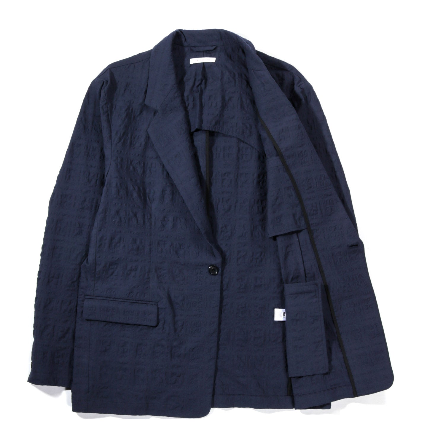 S.K.MANOR HILL JULIAN BLAZER NAVY BLUE PUCKERED