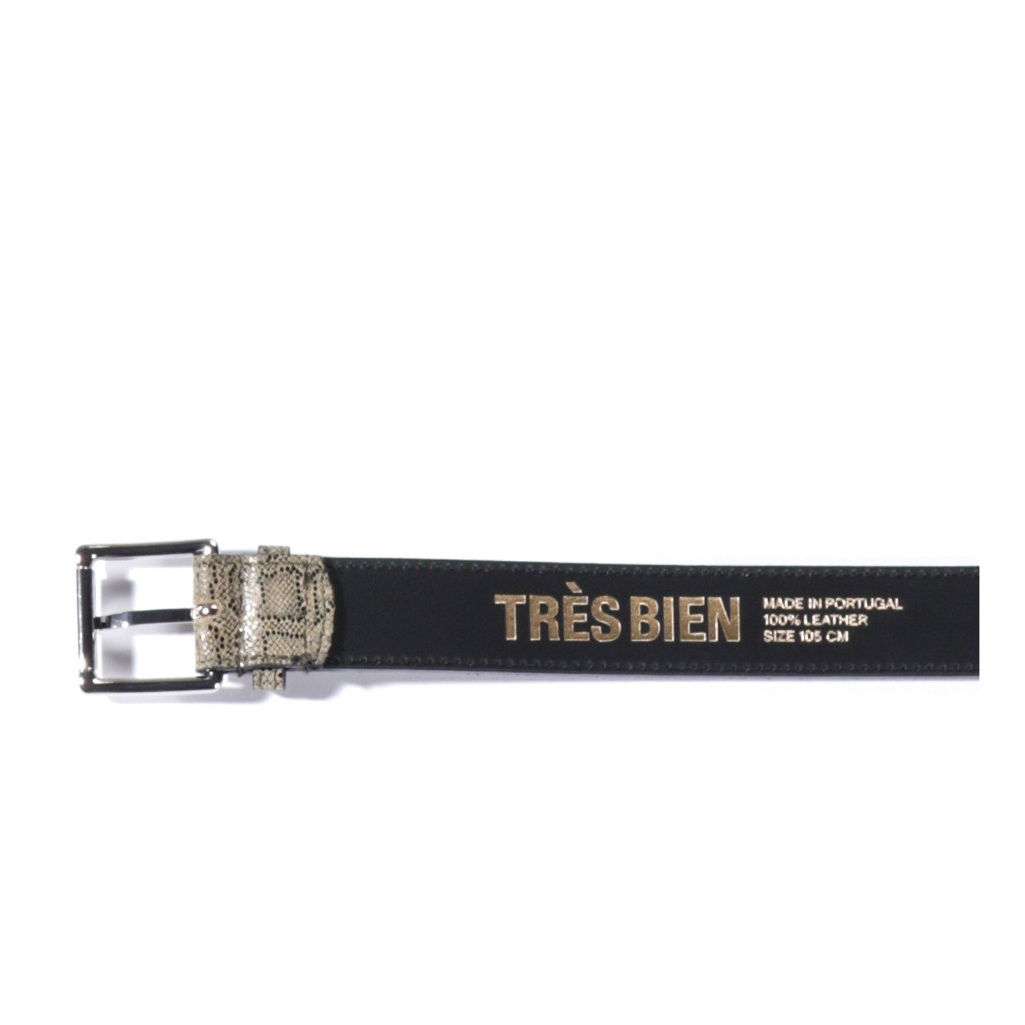 TRES BIEN LEATHER BELT BEIGE SNAKE