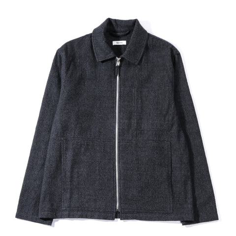 TRES BIEN ZIP BLOUSON WOOL CHECK DARK GREY