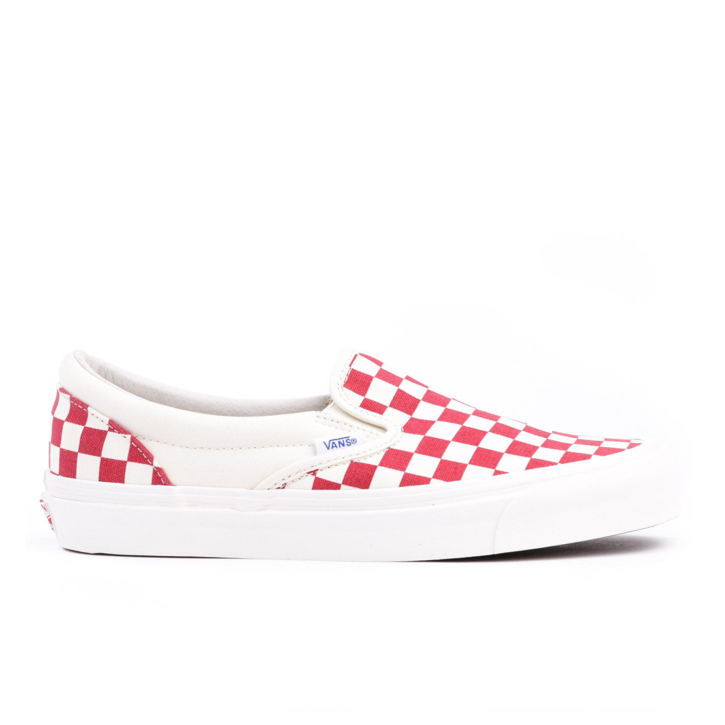 VAULT BY VANS OG CLASSIC SLIP-ON LX RED CHECKERBOARD CANVAS