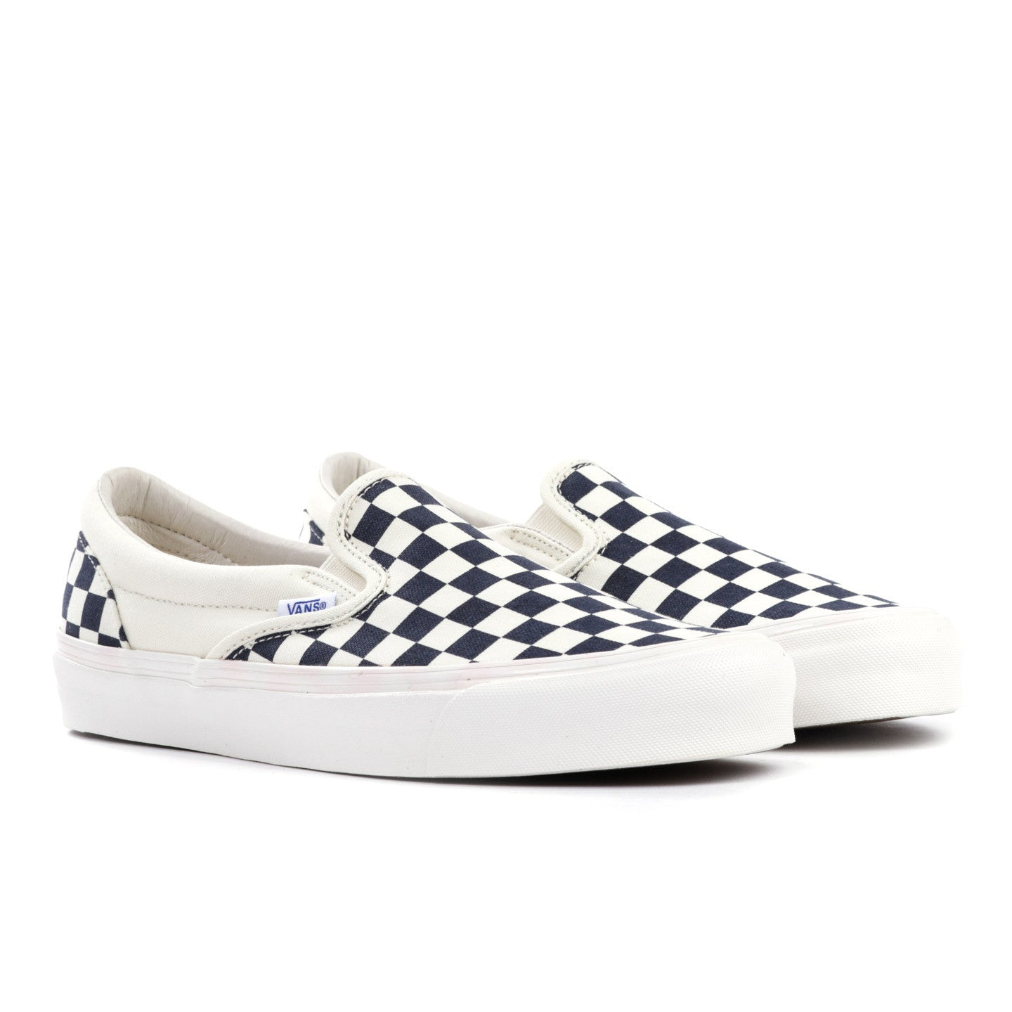 VAULT BY VANS OG CLASSIC SLIP-ON LX NAVY CHECKERBOARD CANVAS