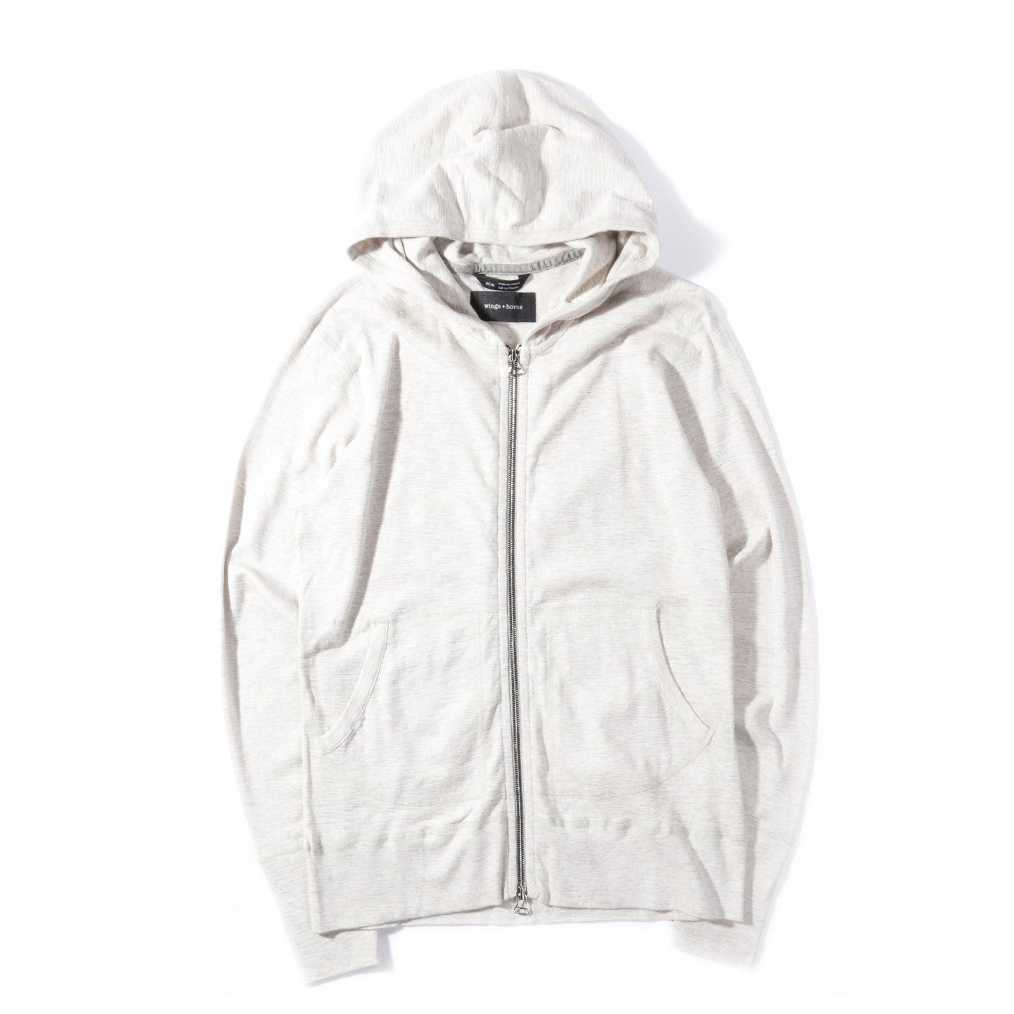 WINGS + HORNS 1x1 SLUB ZIP HOODY HEATHER ASH