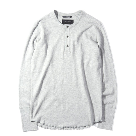 WINGS + HORNS 1x1 SLUB LS HENLEY HEATHER GREY