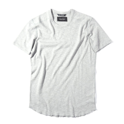 WINGS + HORNS 1x1 SLUB SS CREW HEATHER GREY
