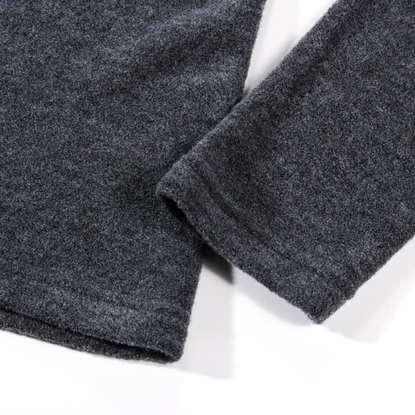 WINGS + HORNS FELTED WOOL CREWNECK HEATHER CHARCOAL
