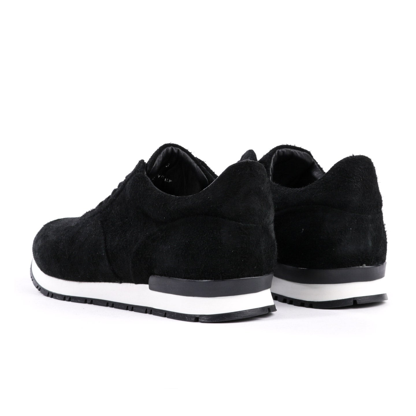 WINGS + HORNS WAXED SUEDE TRAINER BLACK