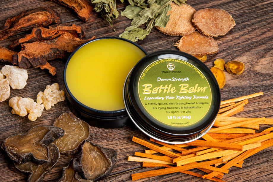Battle Balm is a Powerful Pain Formula in the Ancient Martial Tradition of Dit Da Jow Medicine.