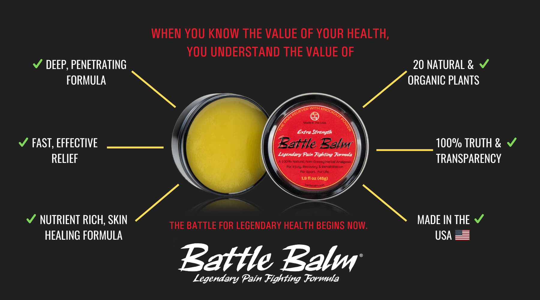 Battle Balm All Natural Topical Pain Relief Cream with deep, fast, effective relief. Made in the USA.