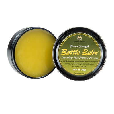 Battle Balm Demon Strength All-Natural Topical OTC Pain Relief Open Tin