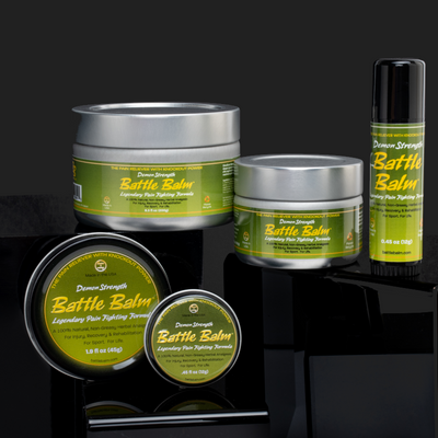 Battle Balm Demon Strength All Natural & Organic Topical Pain Relief Cream Group Shot