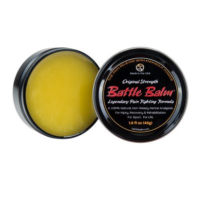 Battle Balm Original Strength All-Natural Topical OTC Pain Relief Open Tin
