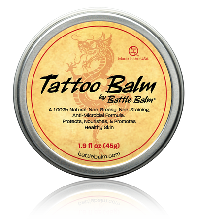 Battle Balm® Tattoo Balm - For Healing Tattoo Ink and Keeping Ink Colors Bright Cream Front