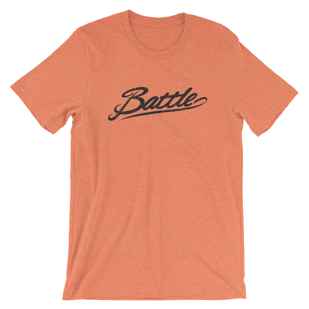 Battle Balm® (Men's) Battle Black Cursive Tee-Shirt [Heather Orange]