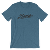 Battle Balm® (Men's) Battle Black Cursive Tee-Shirt [Heather Deep Teal]
