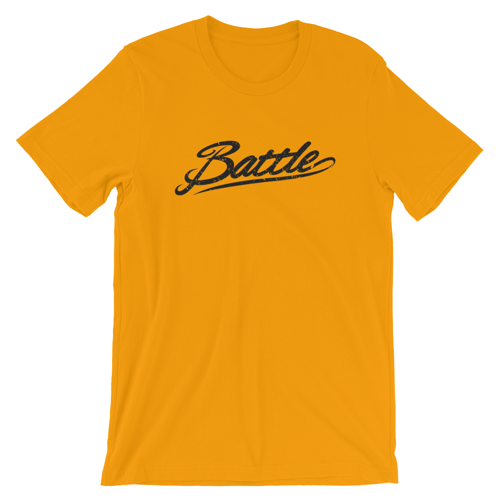 Battle Balm® (Men's) Battle Black Cursive Tee-Shirt [Gold]