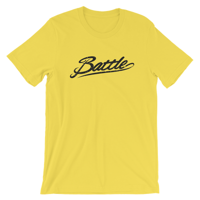 Battle Balm® (Men's) Battle Black Cursive Tee-Shirt [Yellow]