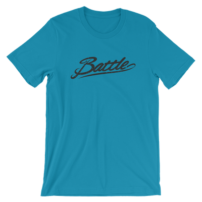Battle Balm® (Men's) Battle Black Cursive Tee-Shirt [Aqua]