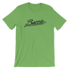 Battle Balm® (Men's) Battle Black Cursive Tee-Shirt [Leaf]