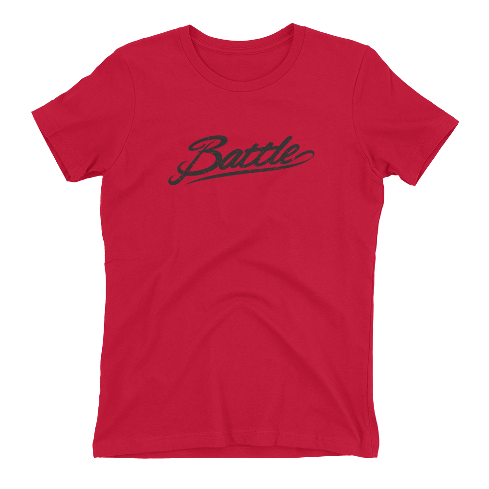 Battle Balm® (Women's) Battle Black Cursive Tee-Shirt [Red]
