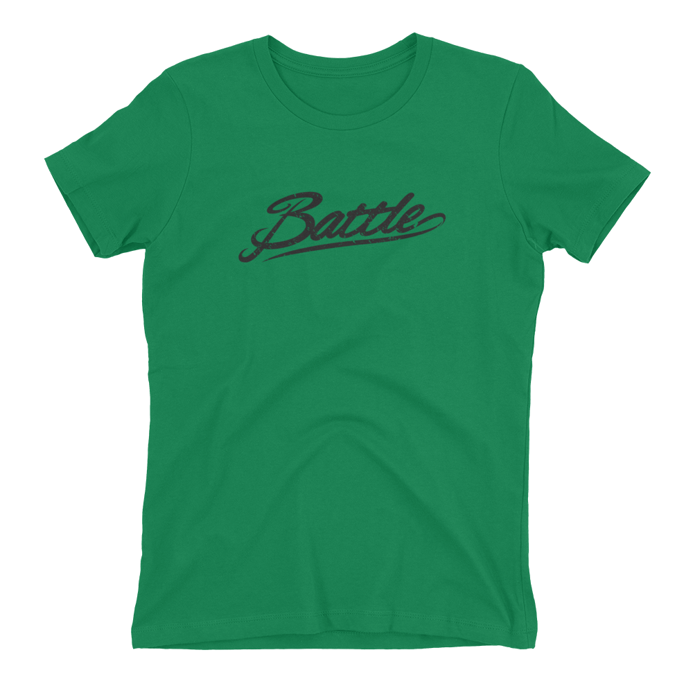 Battle Balm® (Women's) Battle Black Cursive Tee-Shirt [Kelly Green]