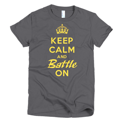 BATTLE BALM® Keep Calm and Battle On TEE-SHIRT (WOMEN'S) - Asphalt