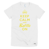 BATTLE BALM® Keep Calm and Battle On TEE-SHIRT (WOMEN'S) - White