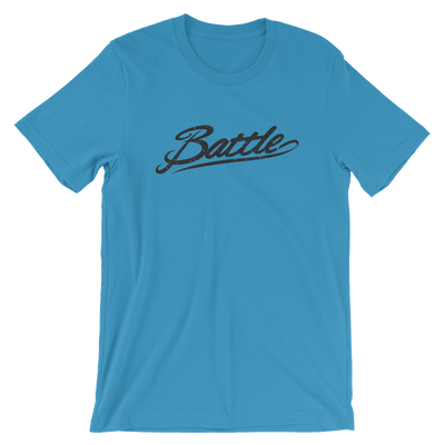 Battle Balm® (Men's) Battle Black Cursive Tee-Shirt [Ocean Blue]